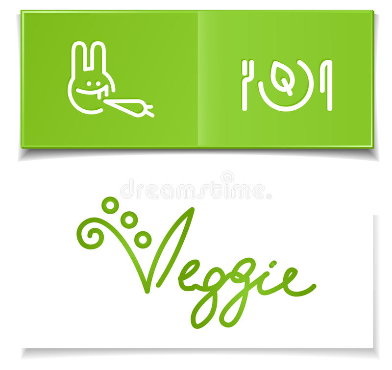 Símbolos da dieta do vegetariano ilustração do vetor