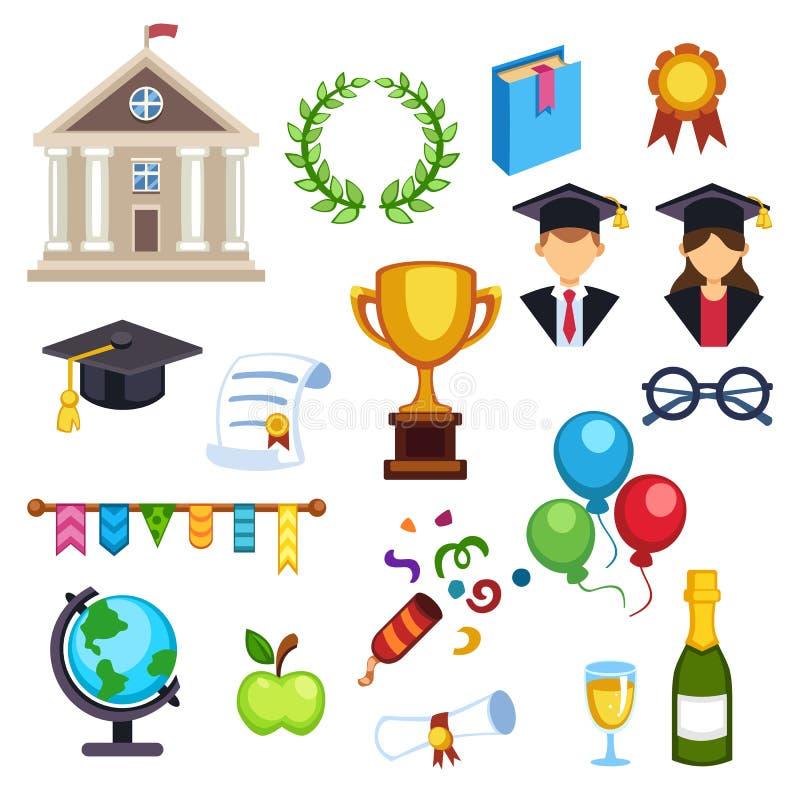 Símbolos da educação da graduação ilustração stock