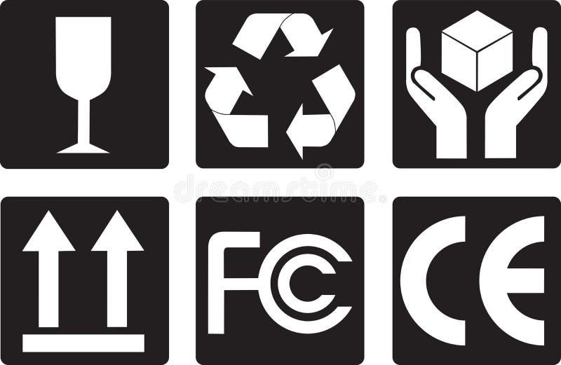 Símbolos da embalagem ilustração stock