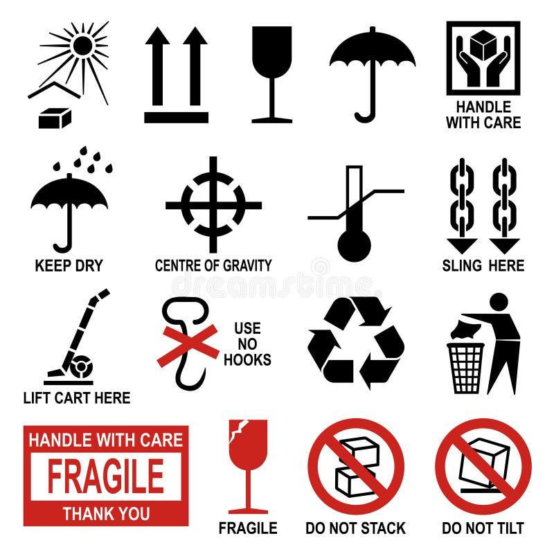 Símbolos da embalagem e do transporte ilustração royalty free