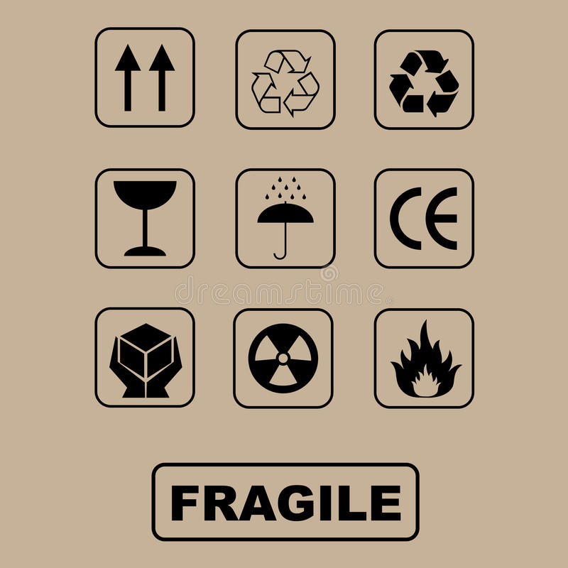 Símbolos da embalagem - jogo ilustração royalty free