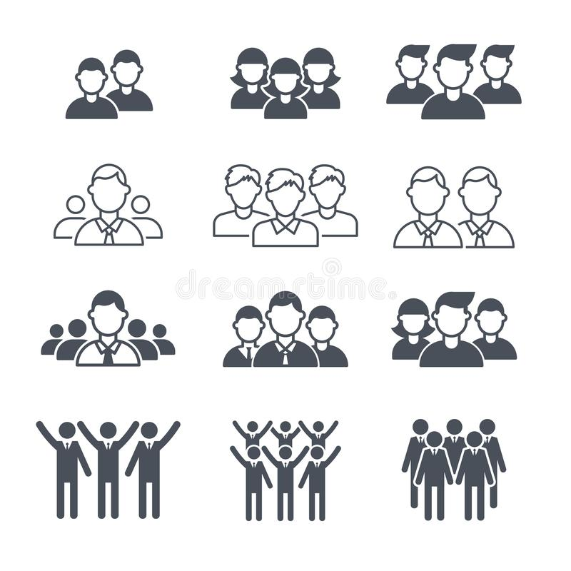 Símbolos da equipe do negócio Grupo incorporado do ícone do vetor das silhuetas do empregado da multidão dos povos ilustração royalty free