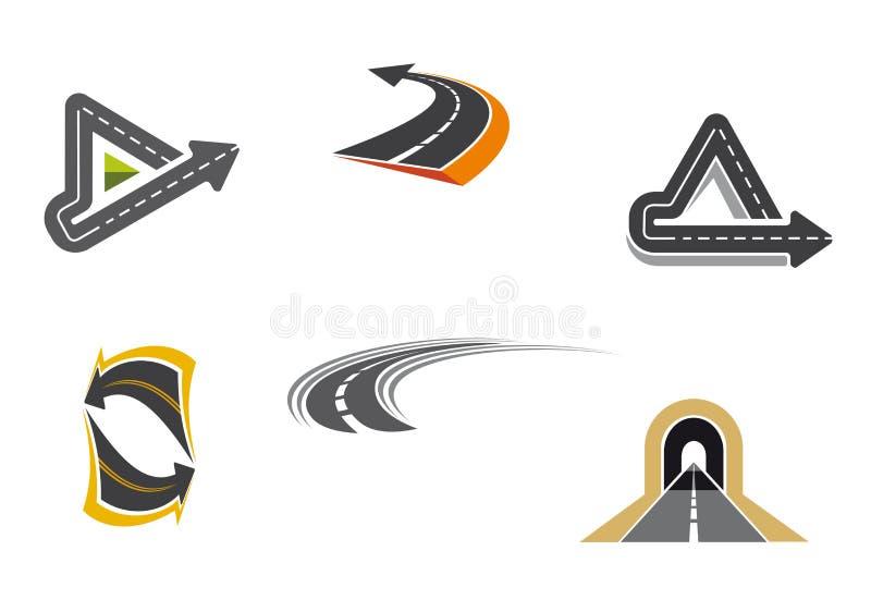Símbolos da estrada e da estrada ilustração royalty free