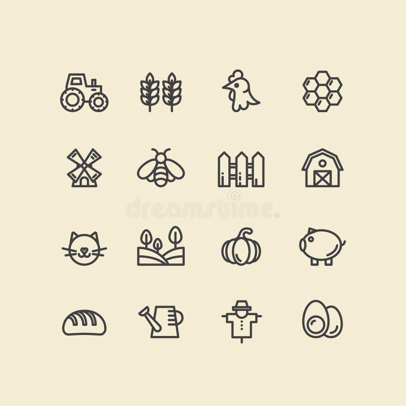 Símbolos da exploração agrícola, construção do país, ferramentas do agregado familiar, animais de estimação e animais domésticos ilustração royalty free