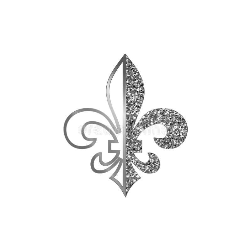 Símbolos da flor de lis, silhuetas de brilho de prata - símbolos heráldicos Ilustração do vetor Sinais medievais Fleur francês de ilustração royalty free