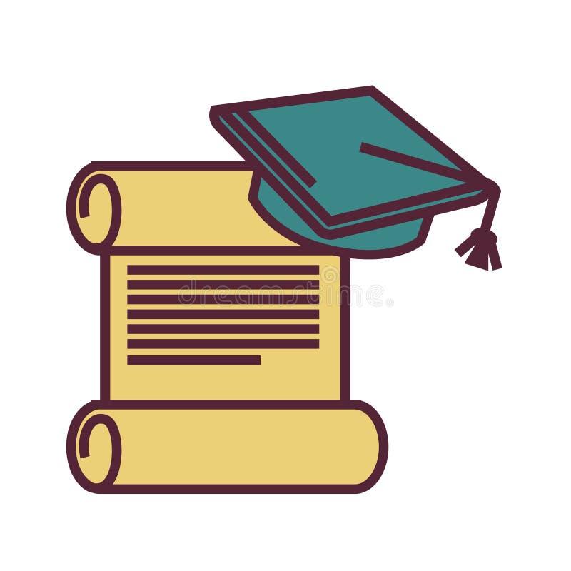 Símbolos da graduação, pergaminho velho e tampão acadêmico quadrado ilustração stock