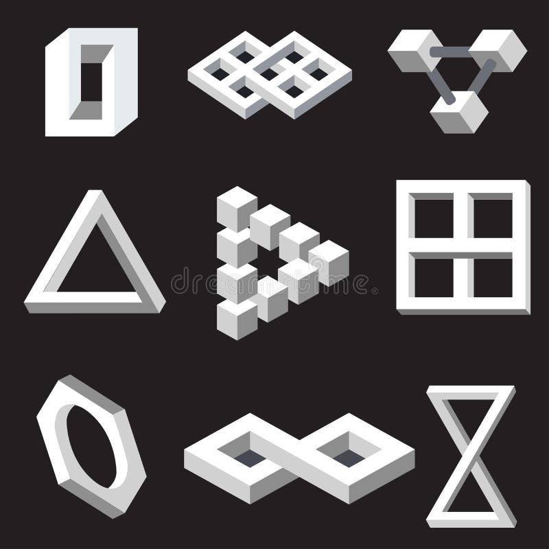Símbolos da ilusão ótica. Ilustração do vetor. ilustração stock