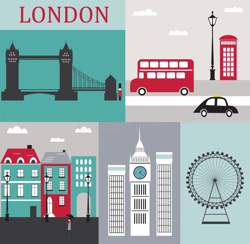 Símbolos de Londres. ilustração royalty free