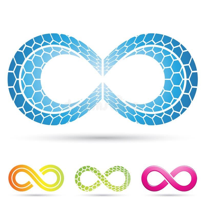 Símbolos da infinidade com teste padrão de mosaico ilustração stock