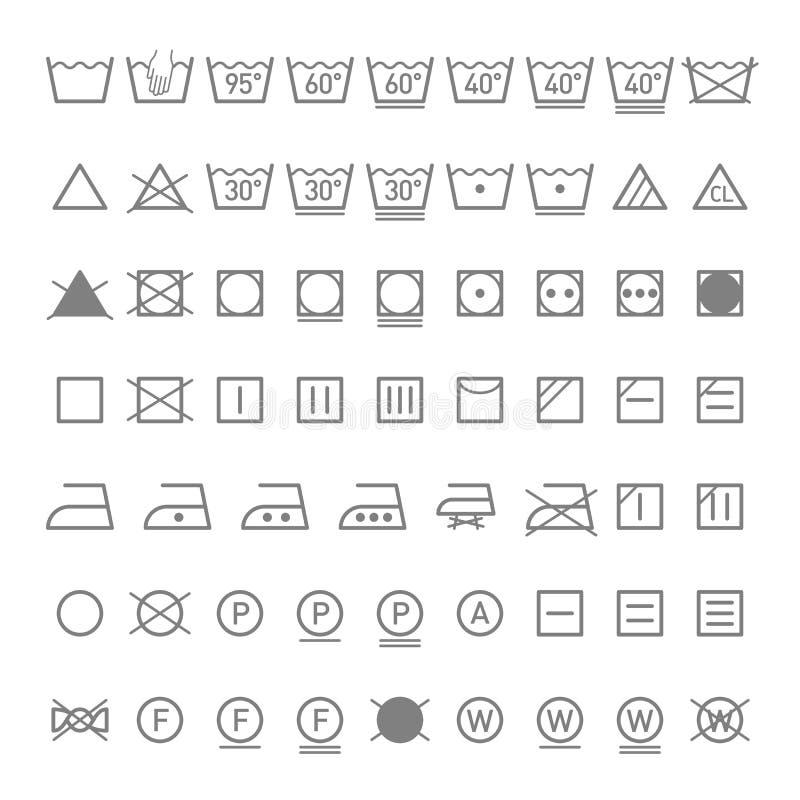 Símbolos da lavanderia ilustração stock