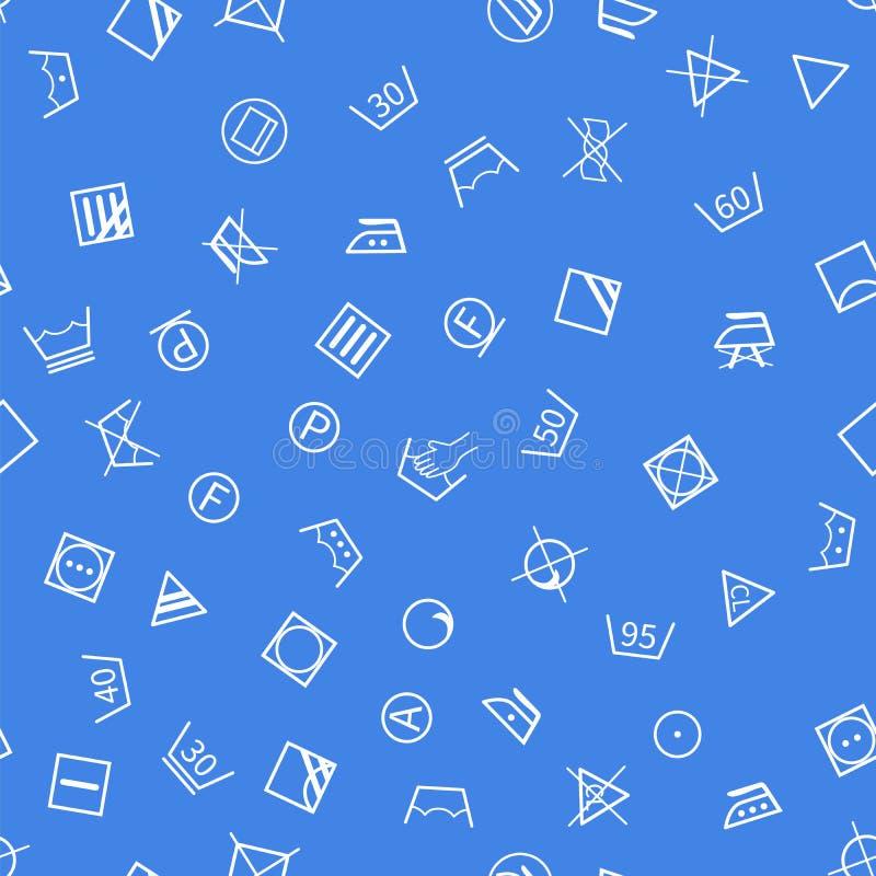 Símbolos da lavanderia no teste padrão sem emenda do fundo azul ilustração royalty free