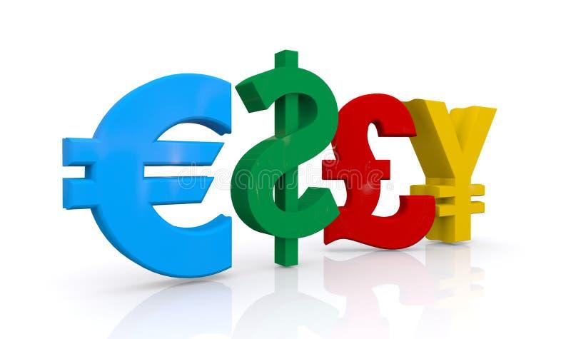 Símbolos da libra e dos ienes do dólar do Euro ilustração stock