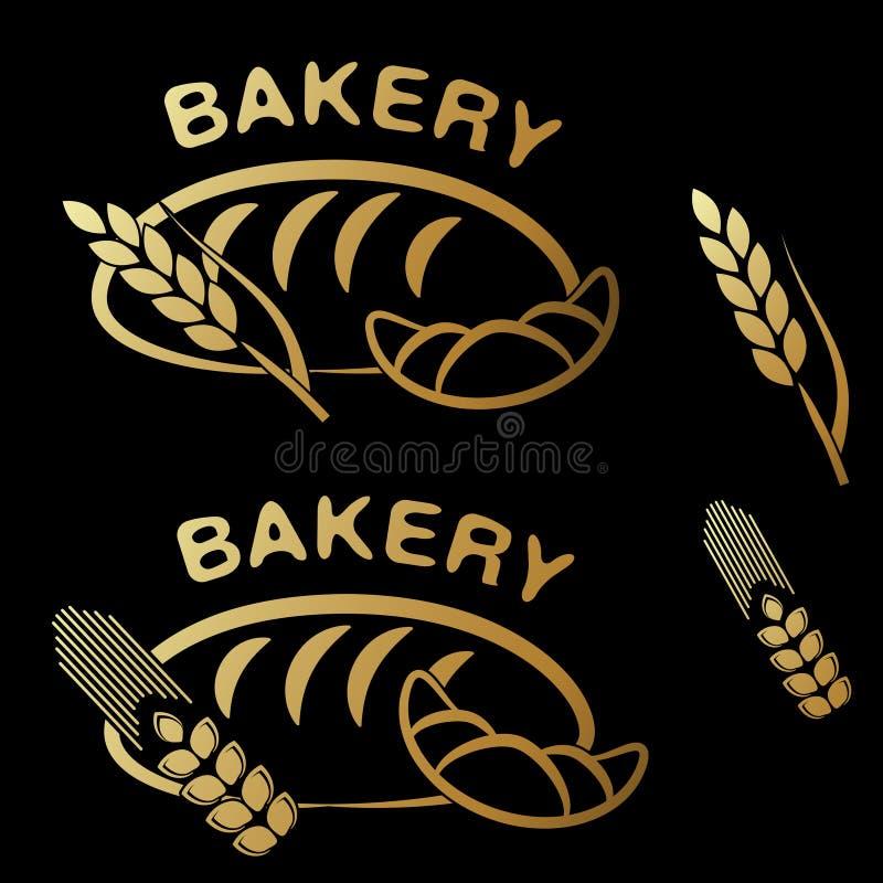 Símbolos da loja da padaria Ícone simples dourado da grão do croissant, do pão e do ponto no fundo preto ilustração stock