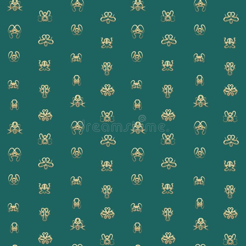 Símbolos da máscara do ouro da arte abstrato no fundo de turquesa ilustração royalty free