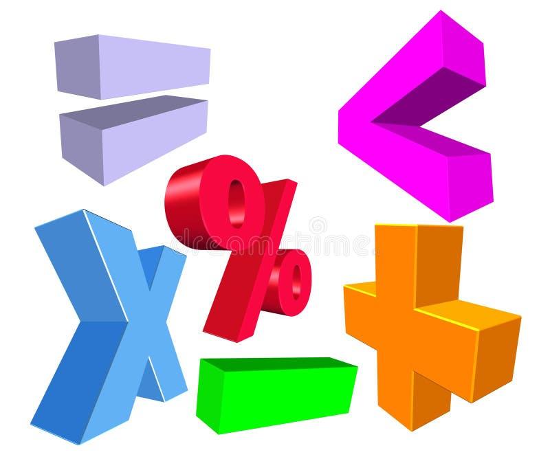 símbolos da matemática 3D ilustração stock