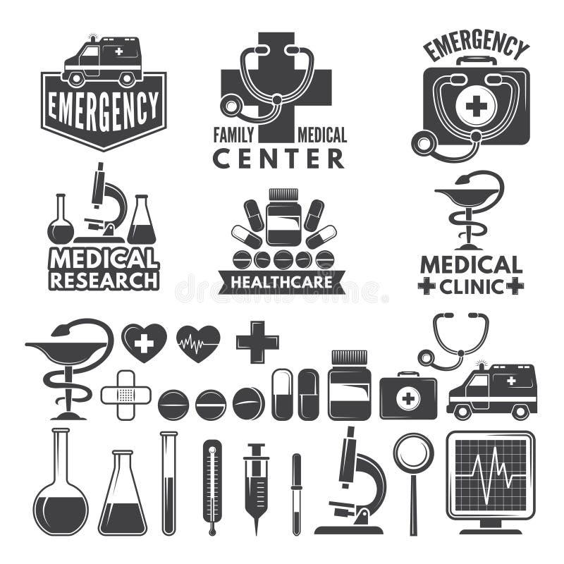 Símbolos da medicina Logotipos e crachás médicos ilustração do vetor