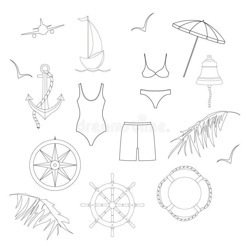 Símbolos da navegação, roupa de banho, folhas de palmeira Ajuste do iconsÑŽ preto e branco liso do vetor ilustração stock