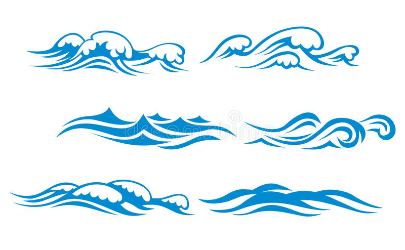 Símbolos da onda ilustração royalty free