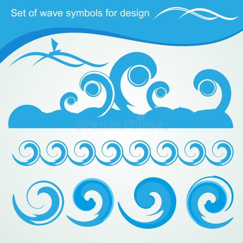 Símbolos da onda para o projeto ilustração do vetor