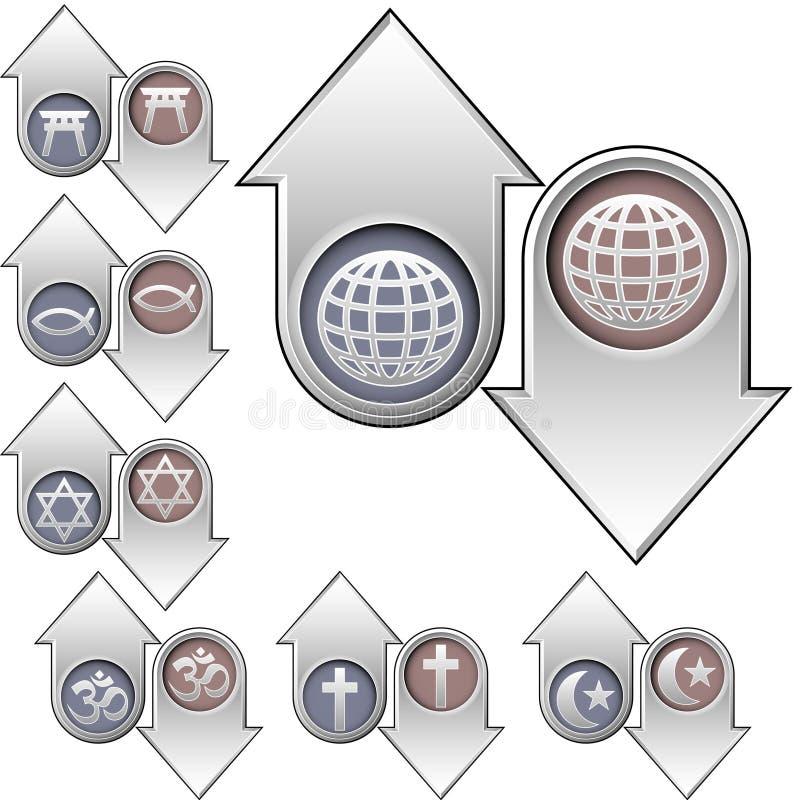 Símbolos da religião do mundo sobre acima e para baixo setas ilustração do vetor