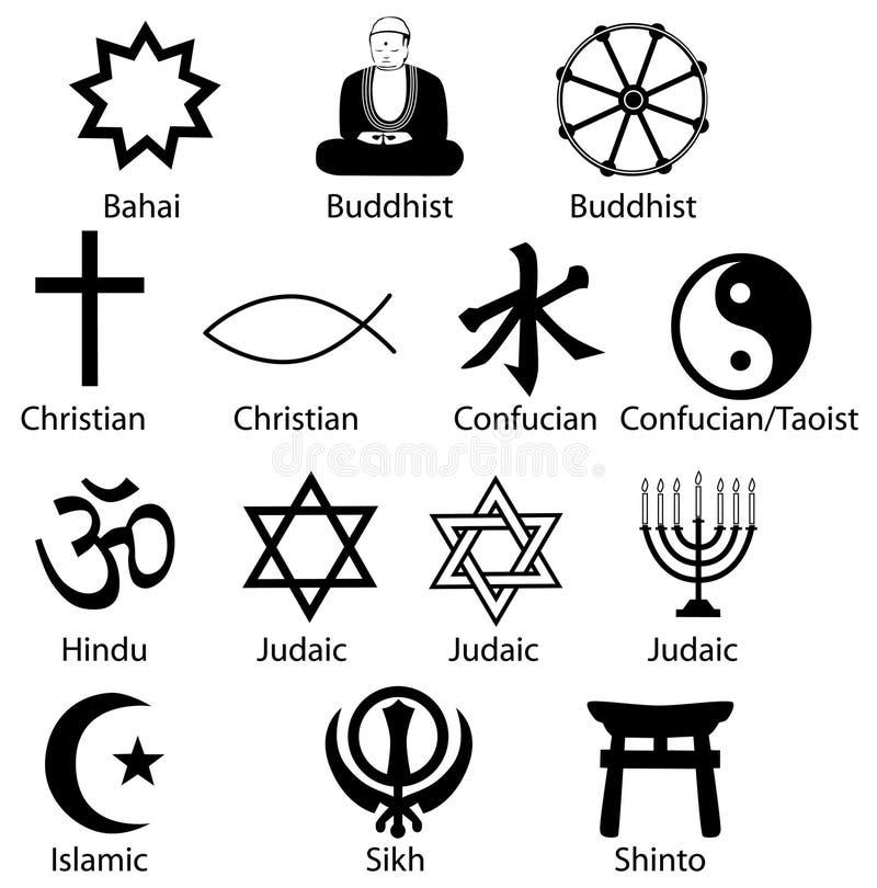 Símbolos da religião religiosos ilustração royalty free