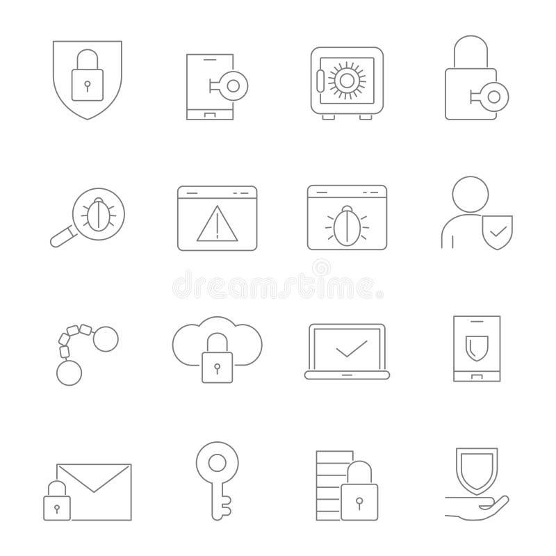 Símbolos da segurança do Cyber Imagens lineares do vetor ajustadas ilustração do vetor