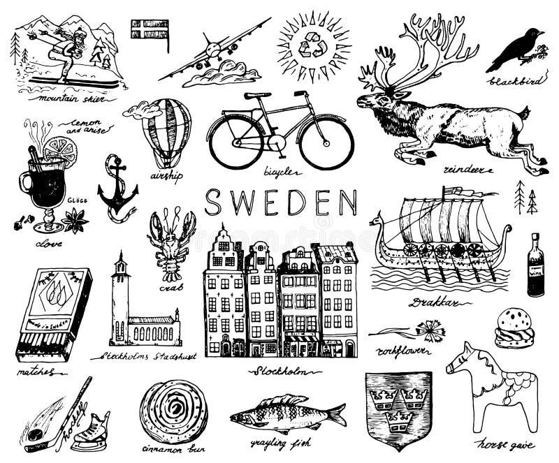 Símbolos da Suécia no estilo do vintage Esboço retro com sinais tradicionais Cultura escandinava, entretenimento nacional dentro ilustração stock
