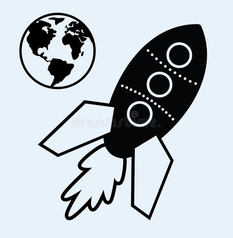 Símbolos da terra do navio e do planeta de Rocket ilustração stock