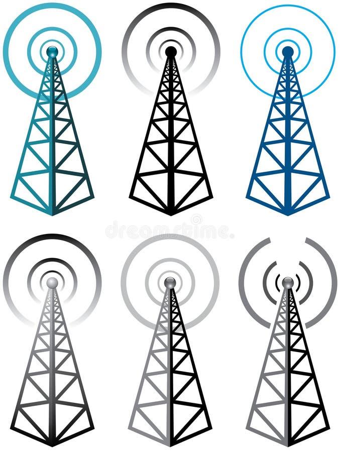 Símbolos da torre de rádio ilustração royalty free