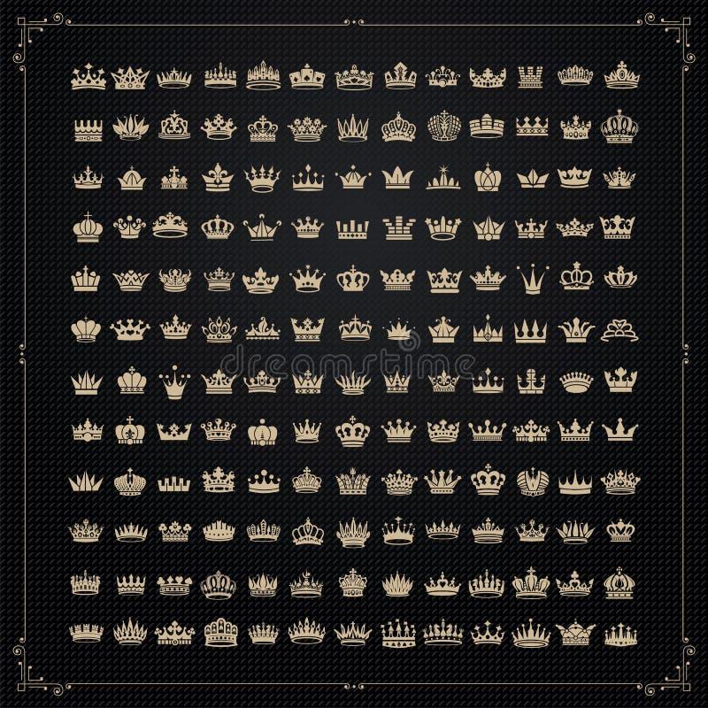 Símbolos das coroas do rei e da rainha ilustração do vetor