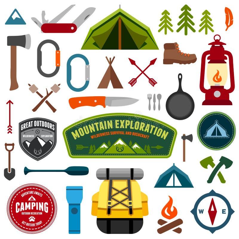 Símbolos de acampamento ilustração do vetor