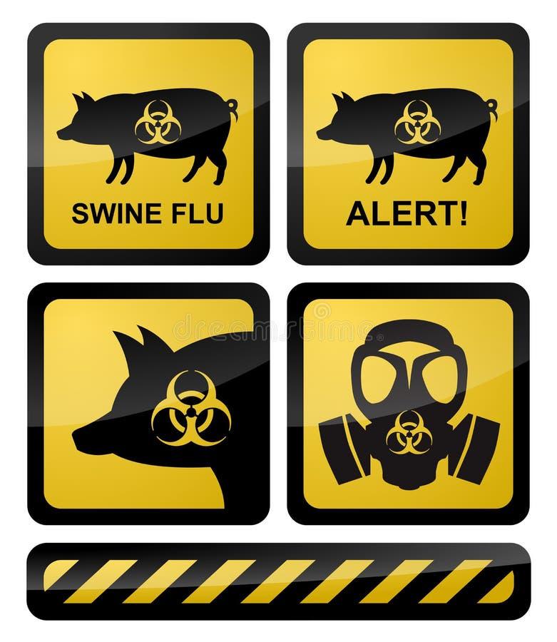 Símbolos de advertência da gripe dos suínos ilustração do vetor