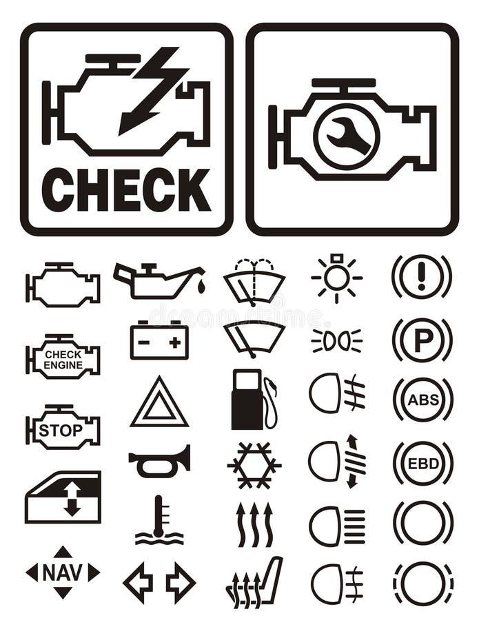 Símbolos de advertência do carro ilustração royalty free