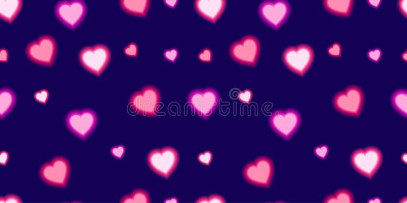 Símbolos de amor y de fondo azul oscuro del corazón brillante vectorial stock de ilustración