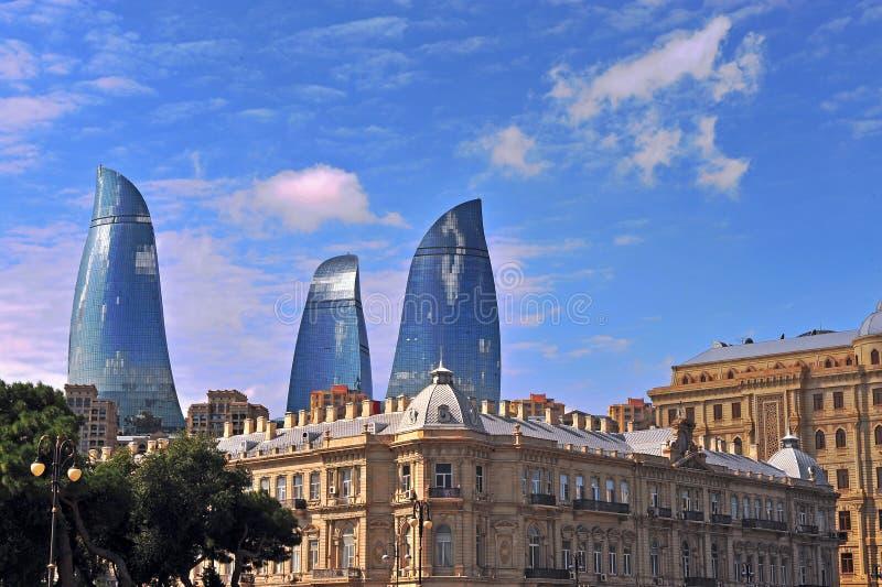 Símbolos de Baku, Azerbaijan imagenes de archivo