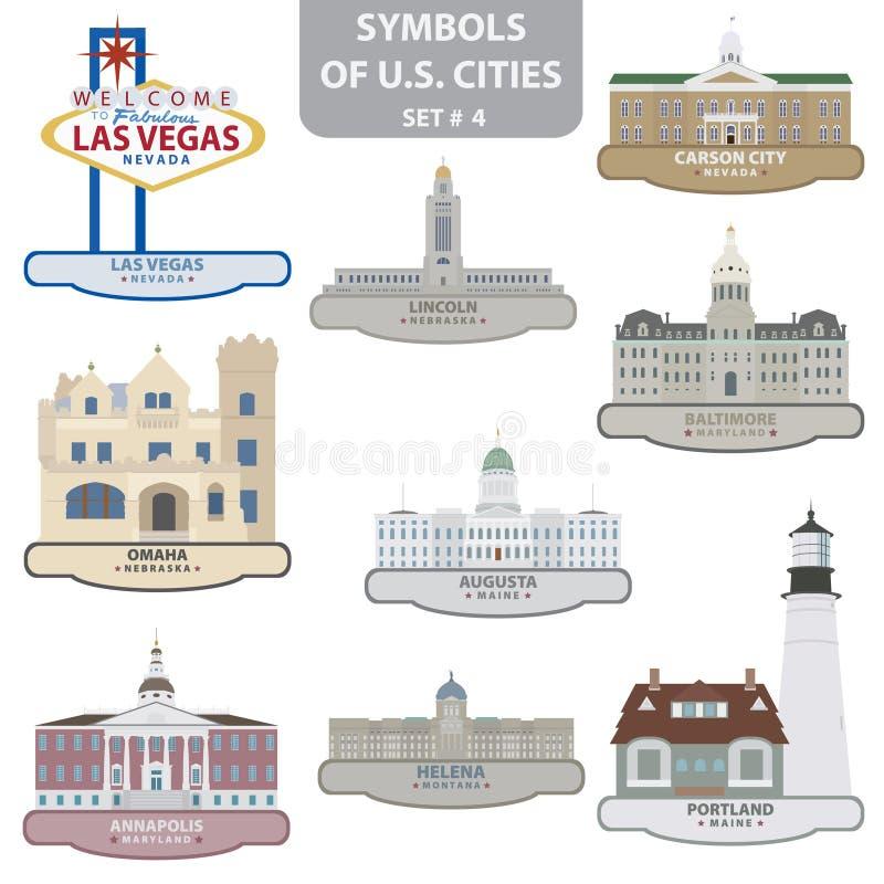 Símbolos de cidades dos E.U. ilustração do vetor