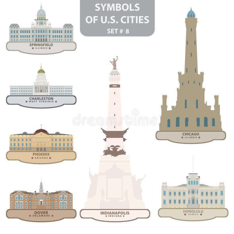 Símbolos de cidades dos E.U. ilustração royalty free