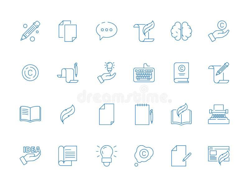 Símbolos de Copywriting Linha fina publicando em blogs ícone criativo do vetor simples das ideias do artigo da pena da mão de liv ilustração royalty free