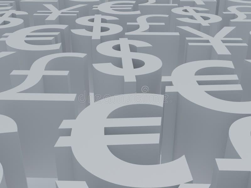 Símbolos de dinero en circulación libre illustration