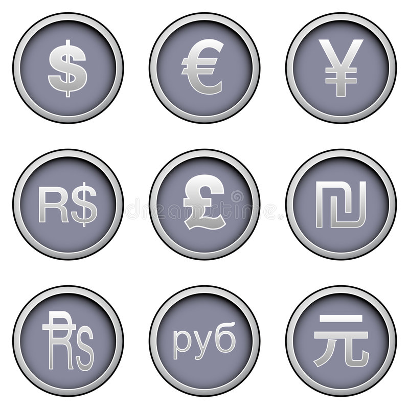 Símbolos de dinero en circulación stock de ilustración