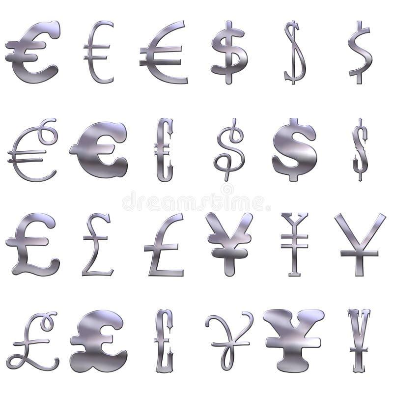 Símbolos De Dinero En Circulación De Plata Excéntricos 3D Imagen de archivo libre de regalías