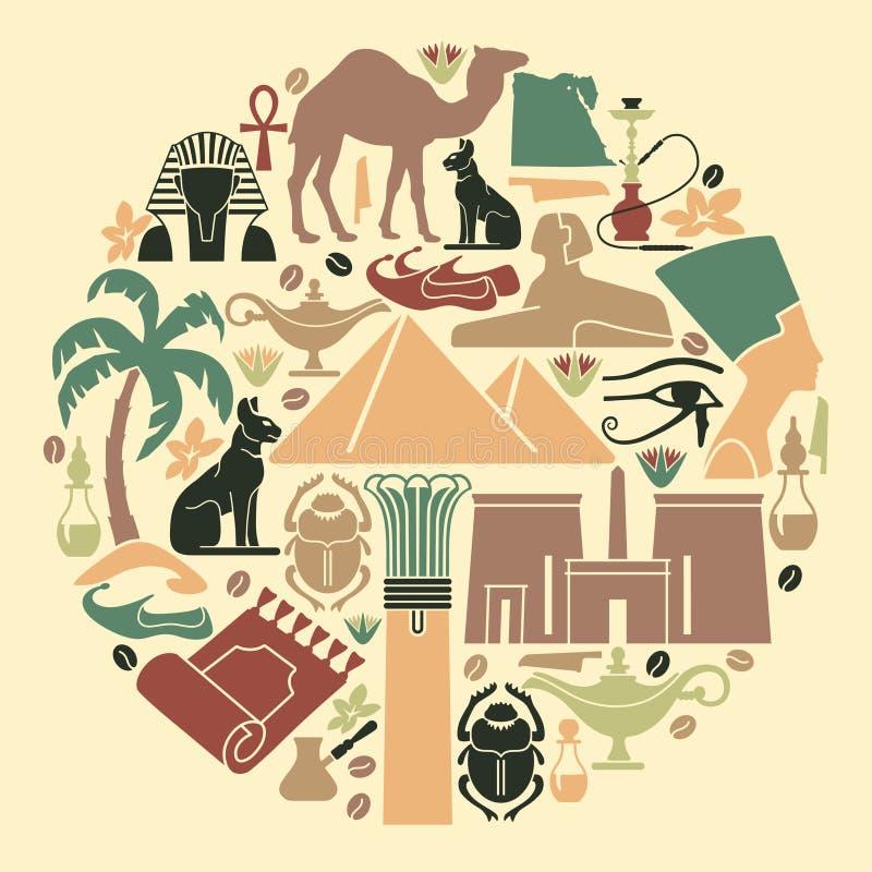 Símbolos de Egipto stock de ilustración