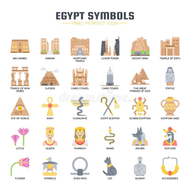 Símbolos de Egipto, iconos perfectos del pixel libre illustration