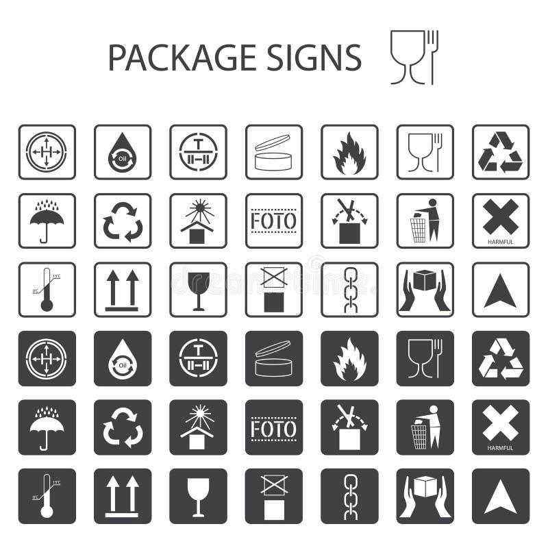 Símbolos de empacotamento do vetor no fundo branco Grupo do ícone do transporte que inclui a reciclagem, frágil, a vida útil do p ilustração stock