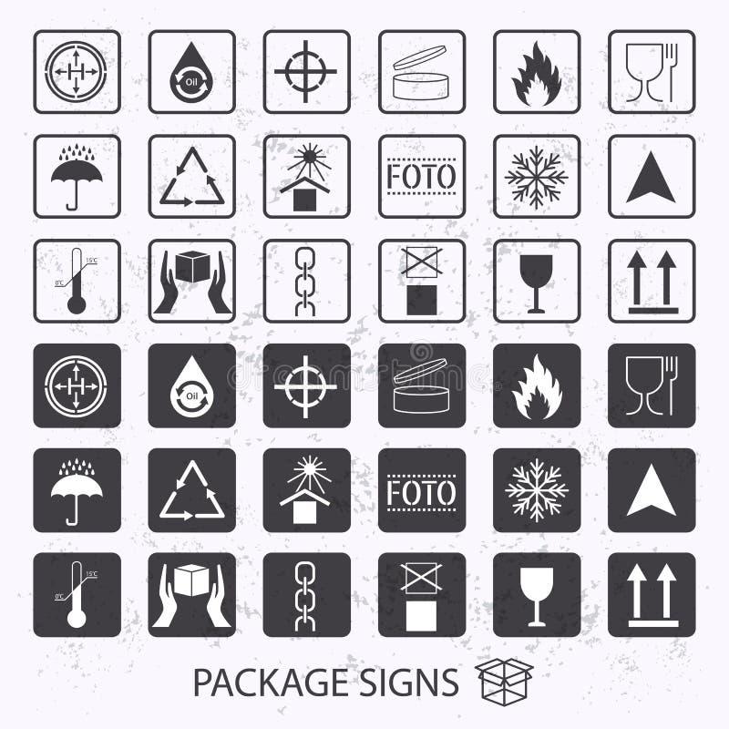 Símbolos de empaquetado del vector en fondo del grunge El icono del envío fijó incluyendo el reciclaje, frágil, la vida útil del  ilustración del vector