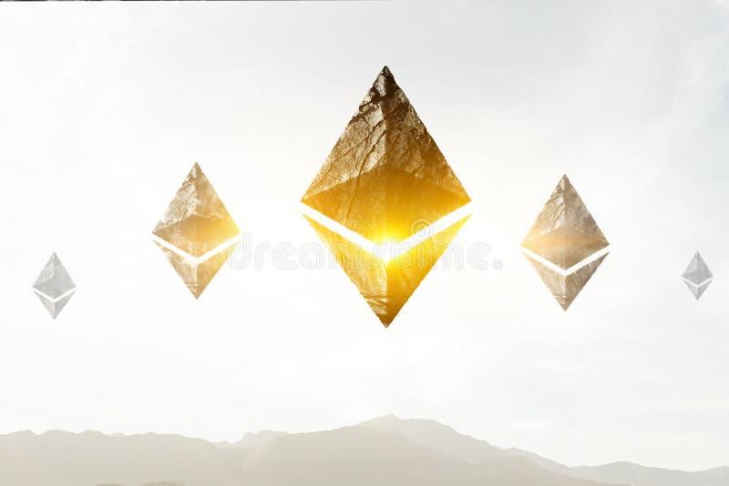Símbolos de Ethereum en fondo del paisaje fotografía de archivo
