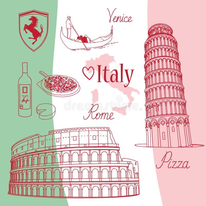 Símbolos de Italia ilustración del vector
