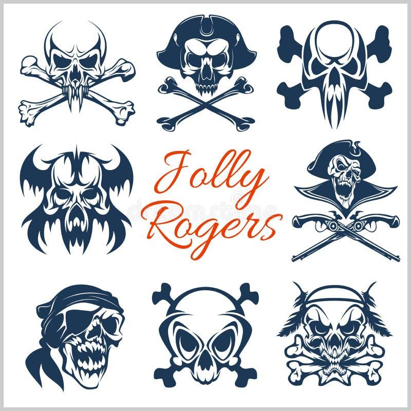 Símbolos de Jolly Roger - o vetor ajustou-se no fundo branco Crânios dos piratas e esqueleto do capitão no chapéu do bandana ou d ilustração stock