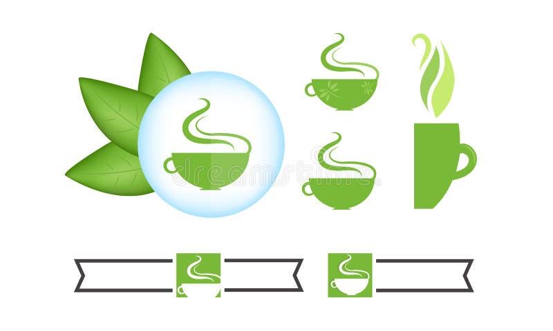 Símbolos de juego de té del logotipo stock de ilustración