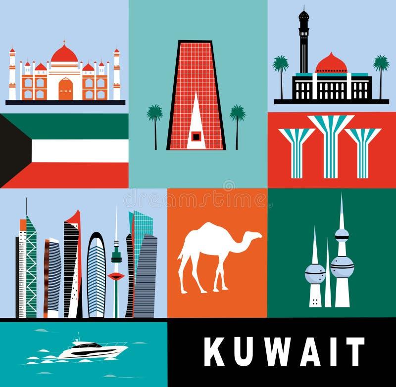 Símbolos de Kuwait stock de ilustración